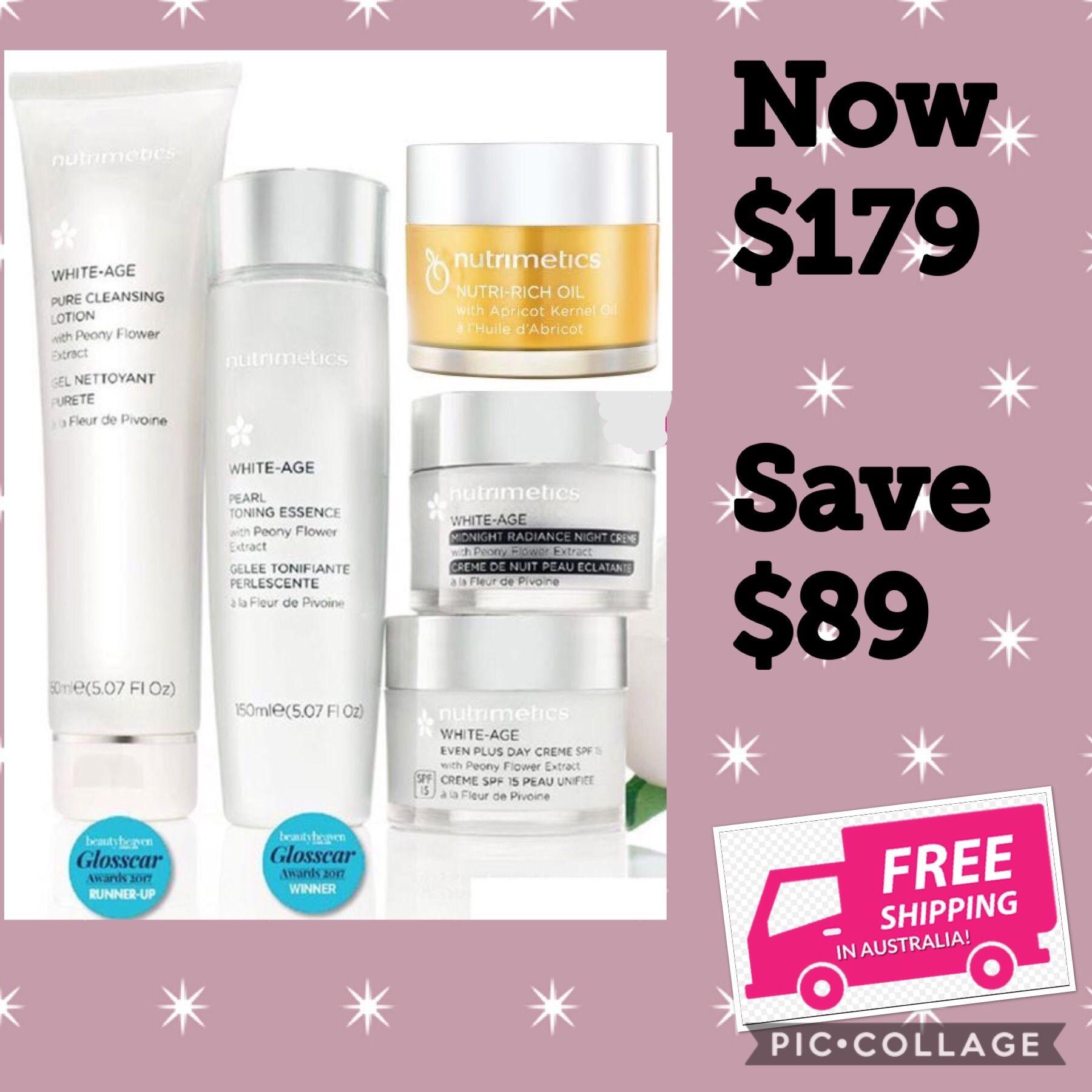 White Age Skincare Set Free Shipping Australia Wide View Brochures Online Https Www Nutrimetics Com Skincare Set Skin Care Essentials Night Creme