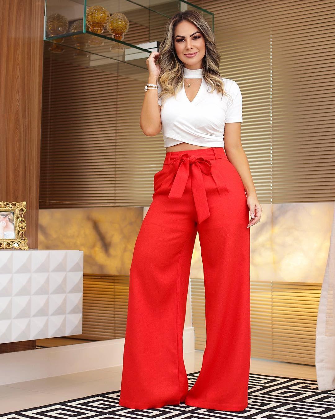 17494ba6ab7e Calça Pantalona + Cropped Canelado. #vemver #summer19 #amobaruc ...
