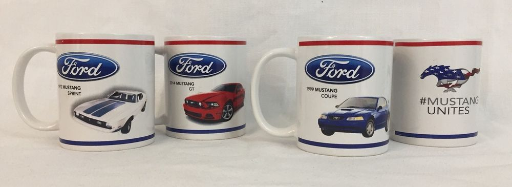 4 Ford Mustang Coffee Mugs Cups White 72 Sprint 99 Coupe 14 Gt Mugs Mustang Coupe