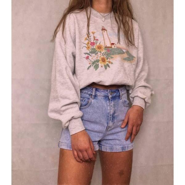 Photo of Womens Casual Loose Long Sleeve Print Sweatshirt RY55 – nifiup.com