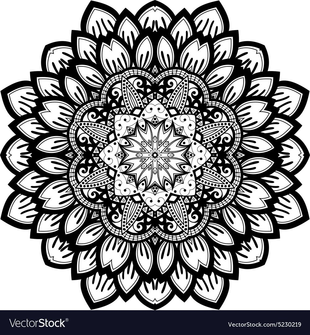 Beautiful Deco Black Mandala Royalty Free Vector Image ,