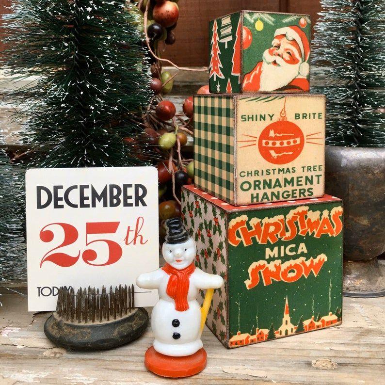 Retro Christmas Packaging Decor Blocks Vintage Christmas Etsy Christmas Packaging Vintage Christmas Christmas Ephemera