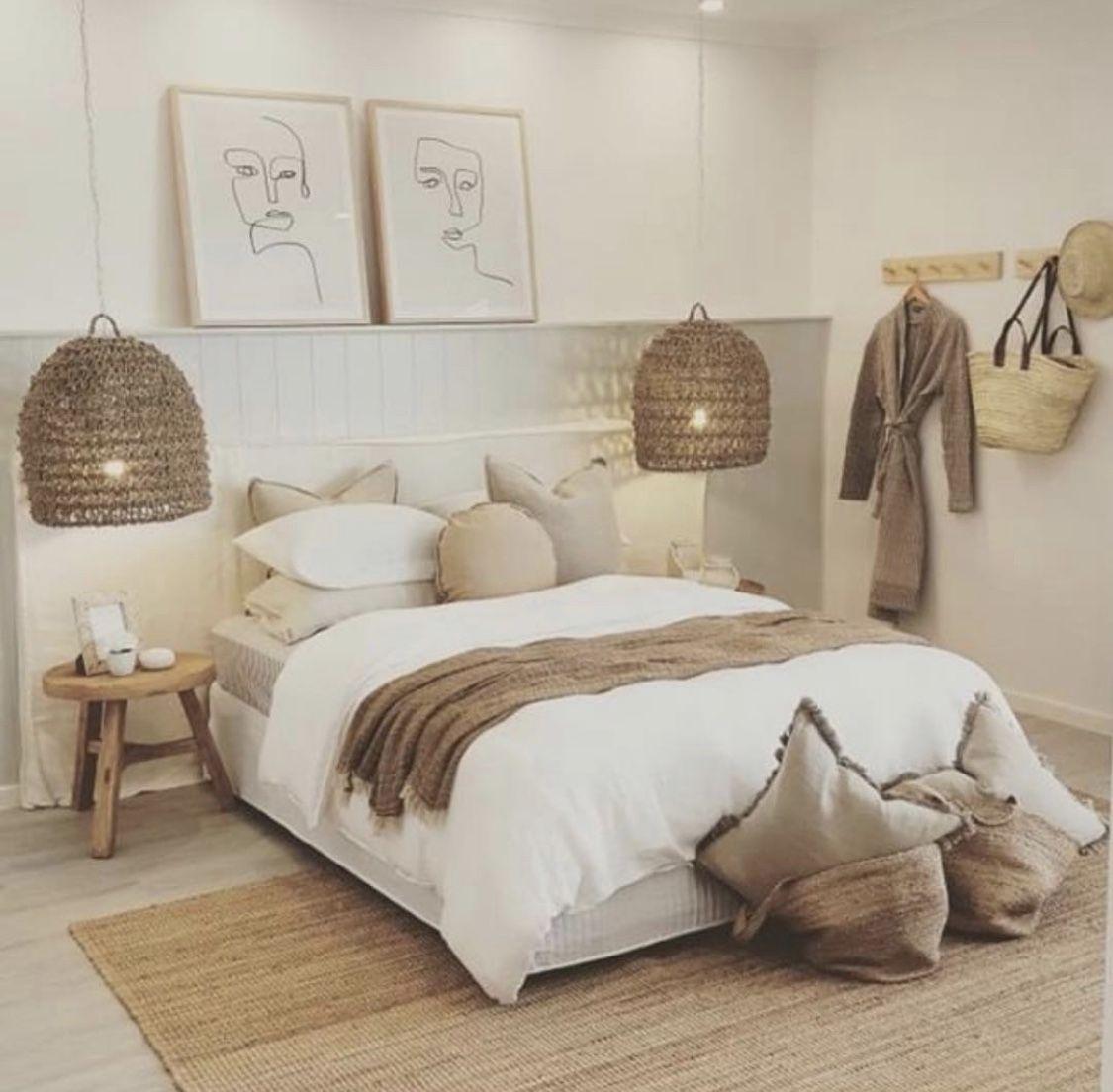 Boho bedroom en 15  Decoration chambre blanche, Déco chambre