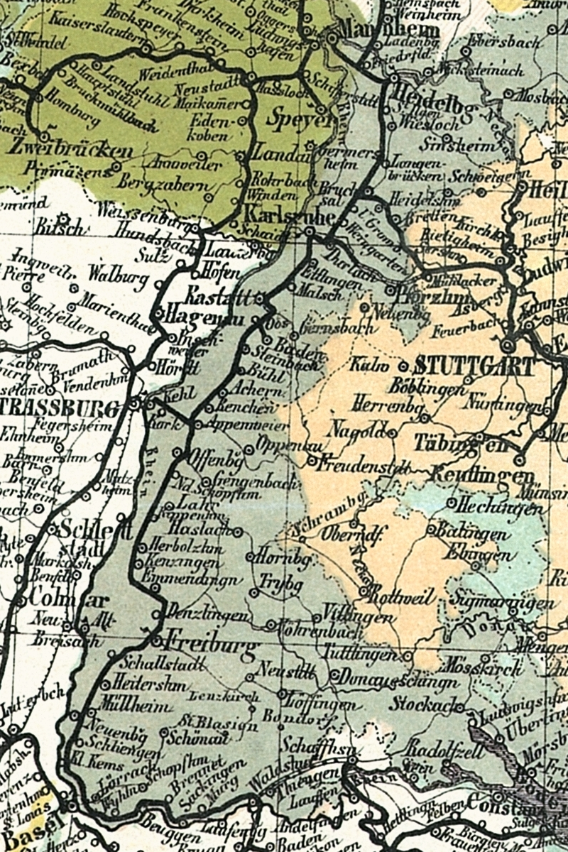 The Grand Duchy Of Baden On A Section Of The Travel Map Of Germany From 1861