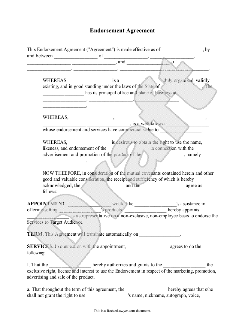 Sample Endorsement Agreement Form Template  Templates