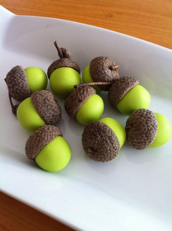I Love These Wasabi Green Polymer Clay Acorn Tops Natural By