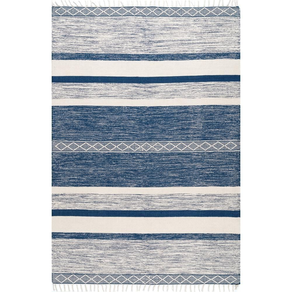 Nuloom Striped Fringe Angela Blue 7 Ft 6 In X 9 Ft 6 In Area Rug Area Rugs Area Rug Sizes Affordable Area Rugs
