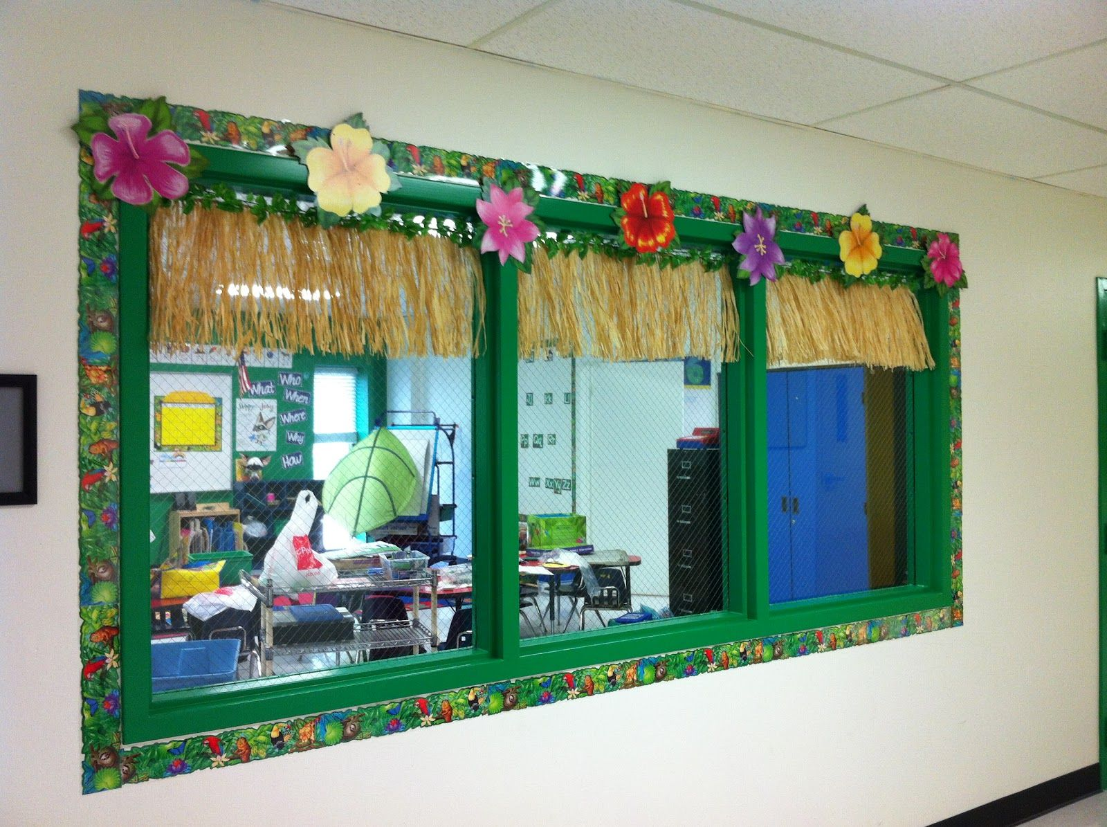 Decorated Hallway Window Looking Into The Classroom