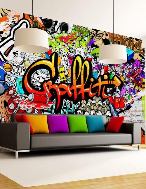 Carta Da Parati Murales.Carta Da Parati Murale Carta Da Parati Fotomurale Tema Scritte Parete Murale Carta Da Parati Graffiti