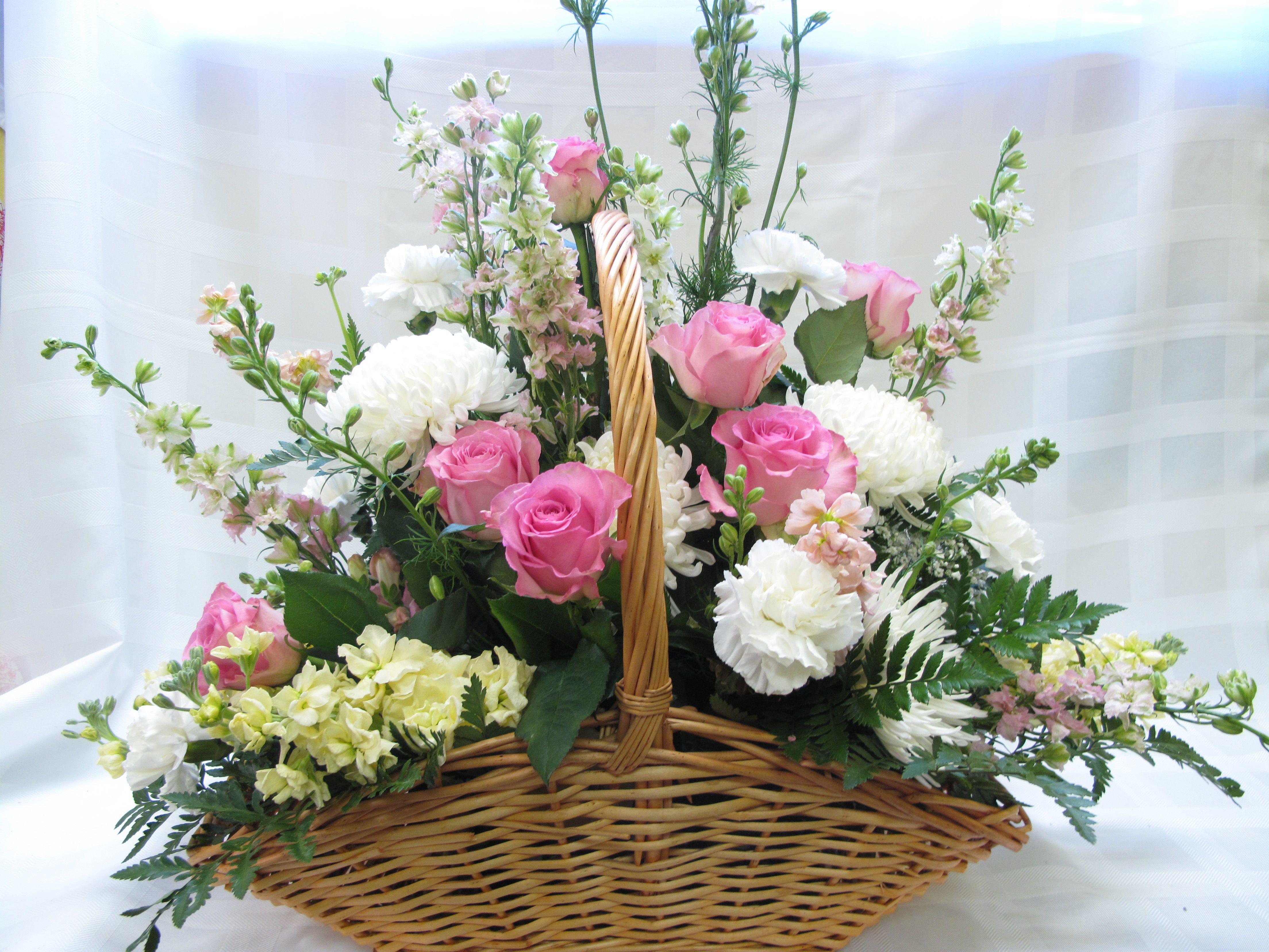 Sympathy Basket Basket Flower Arrangements Spring Flower Arrangements Church Flower Arrangements
