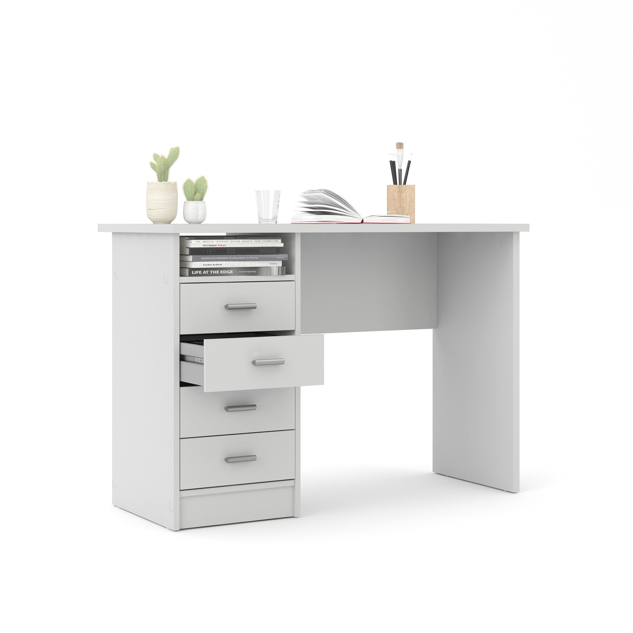 Tvilum Warner Computer Desk With Drawers White Finish Walmart Com Desk With Drawers White Desk Bedroom White Desk With Drawers