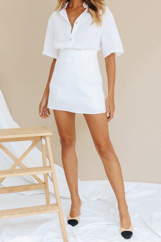 c70b2279b7 VG Cover Stories Linen Mini Skirt // White – Verge Girl   NewLook 19 ...
