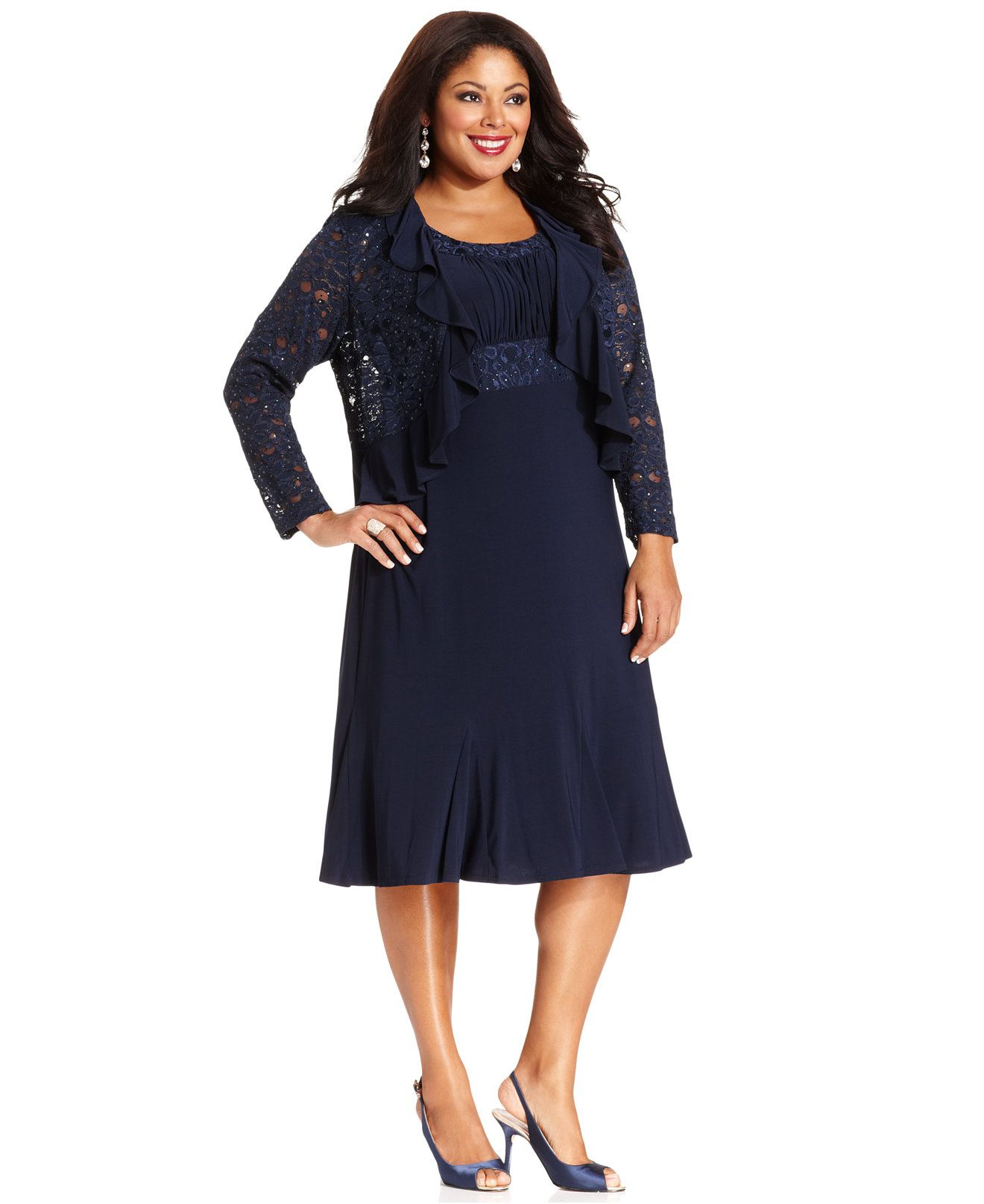 R&M Richards Plus Size Sleeveless Embroidered Dress and Jacket ...