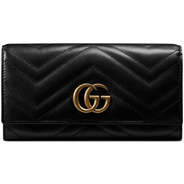 Gucci Gg Marmont Continental Wallet (€525) ❤ liked on Polyvore featuring bags, wallets, accessories, black, women, snap closure wallet, 100 leather wallet, leather bags, genuine leather bags and chevron bags
