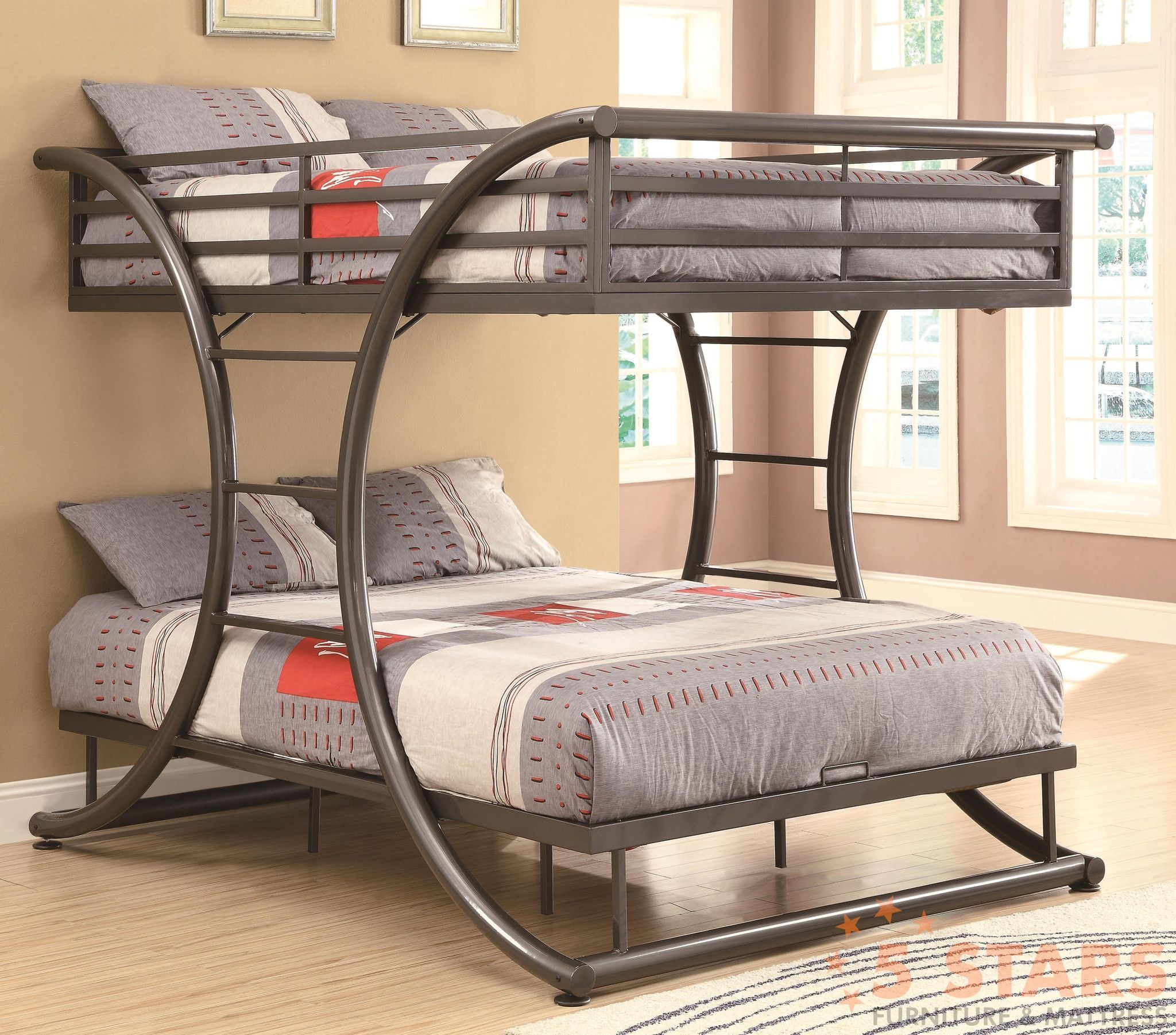 Queen size loft bed with stairs  This fun and stylish fulloverfull size bunk bed comes in a sleek