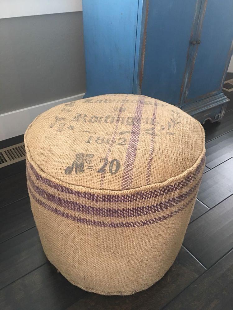 Burlap jute ottoman wrapped round cushion lettering purple
