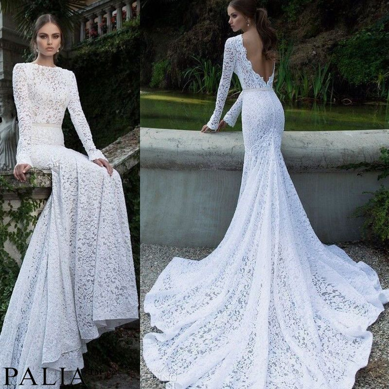Elegant Lady S Lace Backless Evening Wedding Long Prom Gown Bodycon Dresses Hot Wedding Dresses Lace Mermaid Wedding Dress White Long Sleeve Wedding Dress