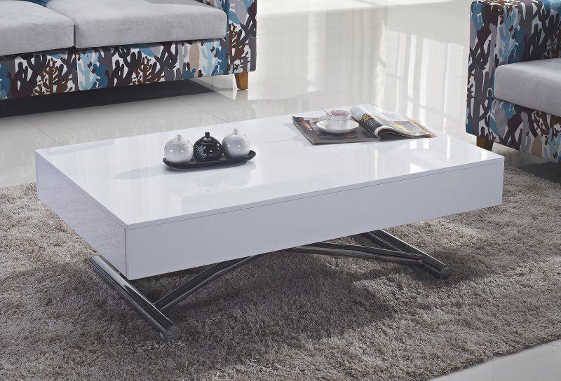 Table Basse Relevable Cube Blanche Brillante Extensible 12 Couverts Table Basse Relevable Table Basse Table Basse Blanche