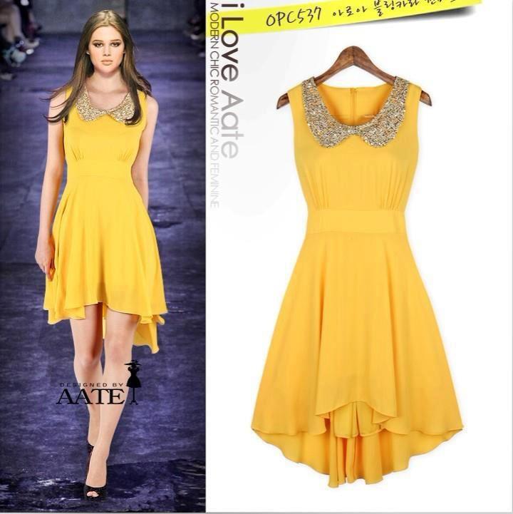 34ae51946 Vestido amarillo casual