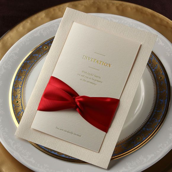 Aliexpress Buy Ivory Classic Elegant With Red Bow Design Wedding Invitations Cards Customizing