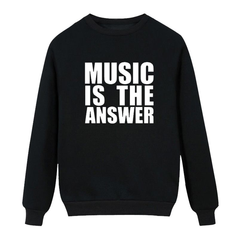 >> Click to Buy << Winter Mens Music Is The Answer Printing Funny Fashion Fleece Hoodies Sweatshirt  New O-Neck Long Sleeve Casual Tops #Affiliate