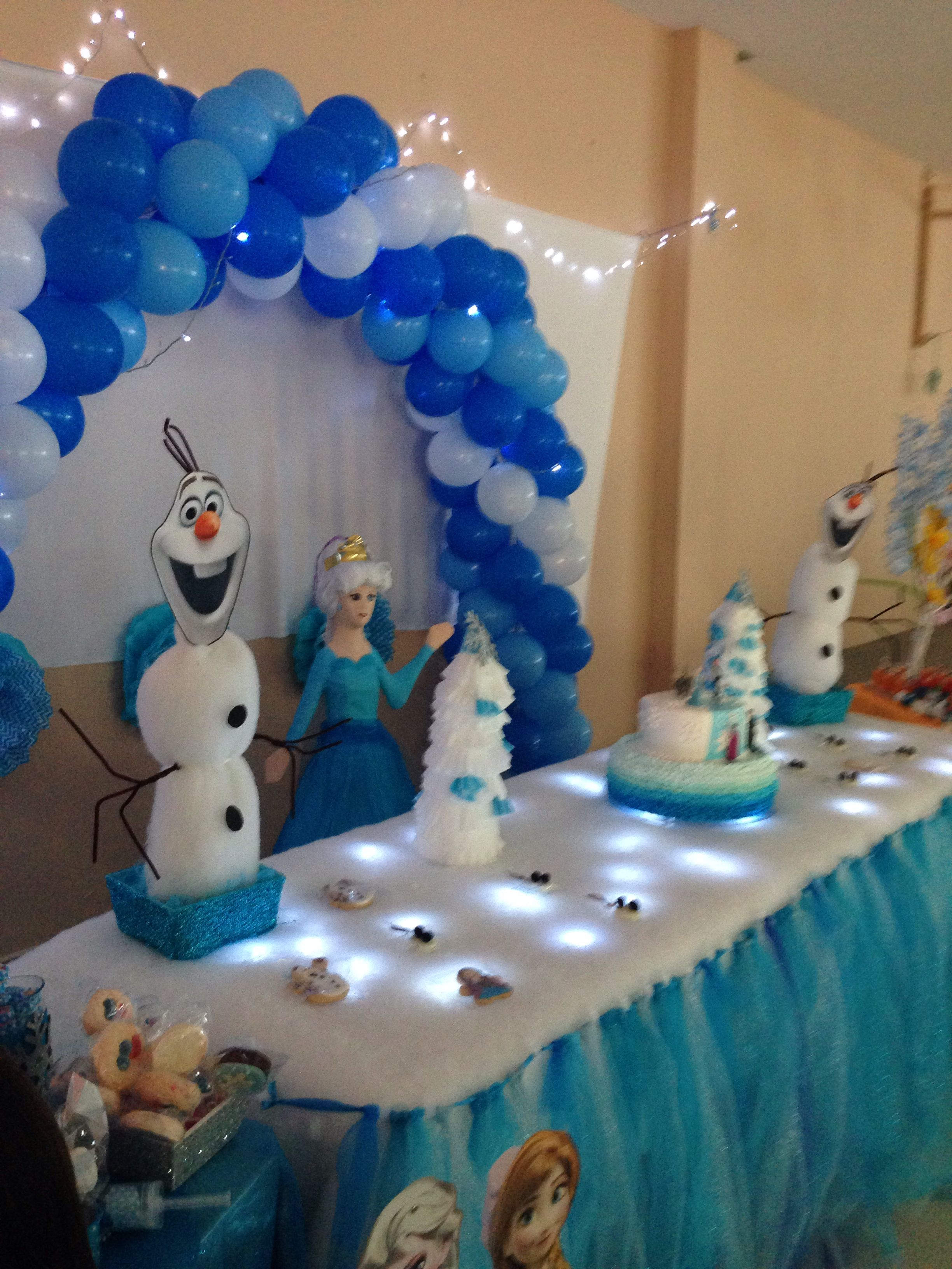 Fiesta de frozen con mesa de dulces decoracion en el techo - Decoracion de techos ...