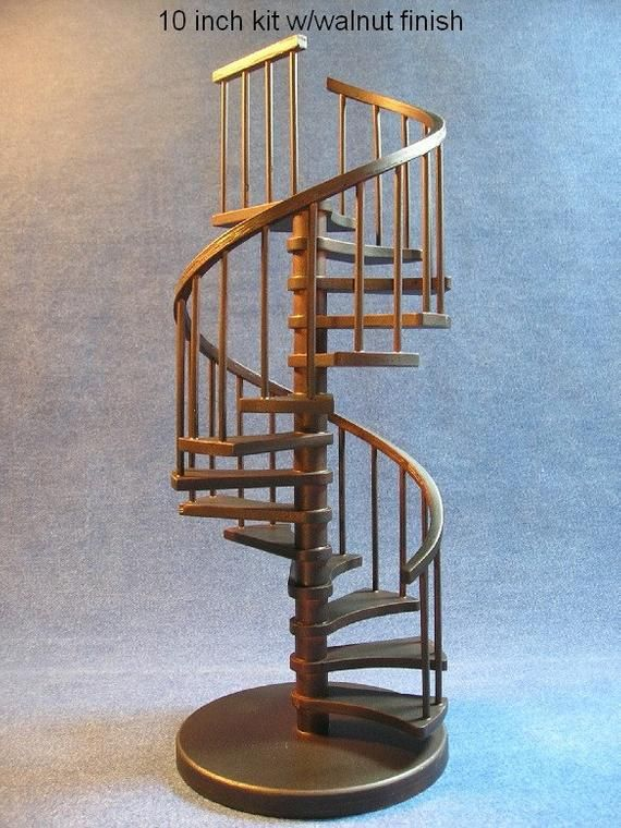 Best 1 12 Scale 10 Inch Spiral Staircase Kit Curved Landing 640 x 480