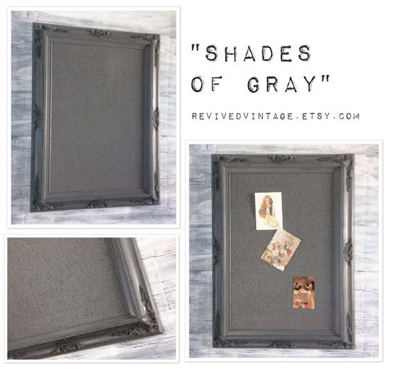 GRAY FRAMED Cork Board Shabby Chic Office Vintage Style 37\