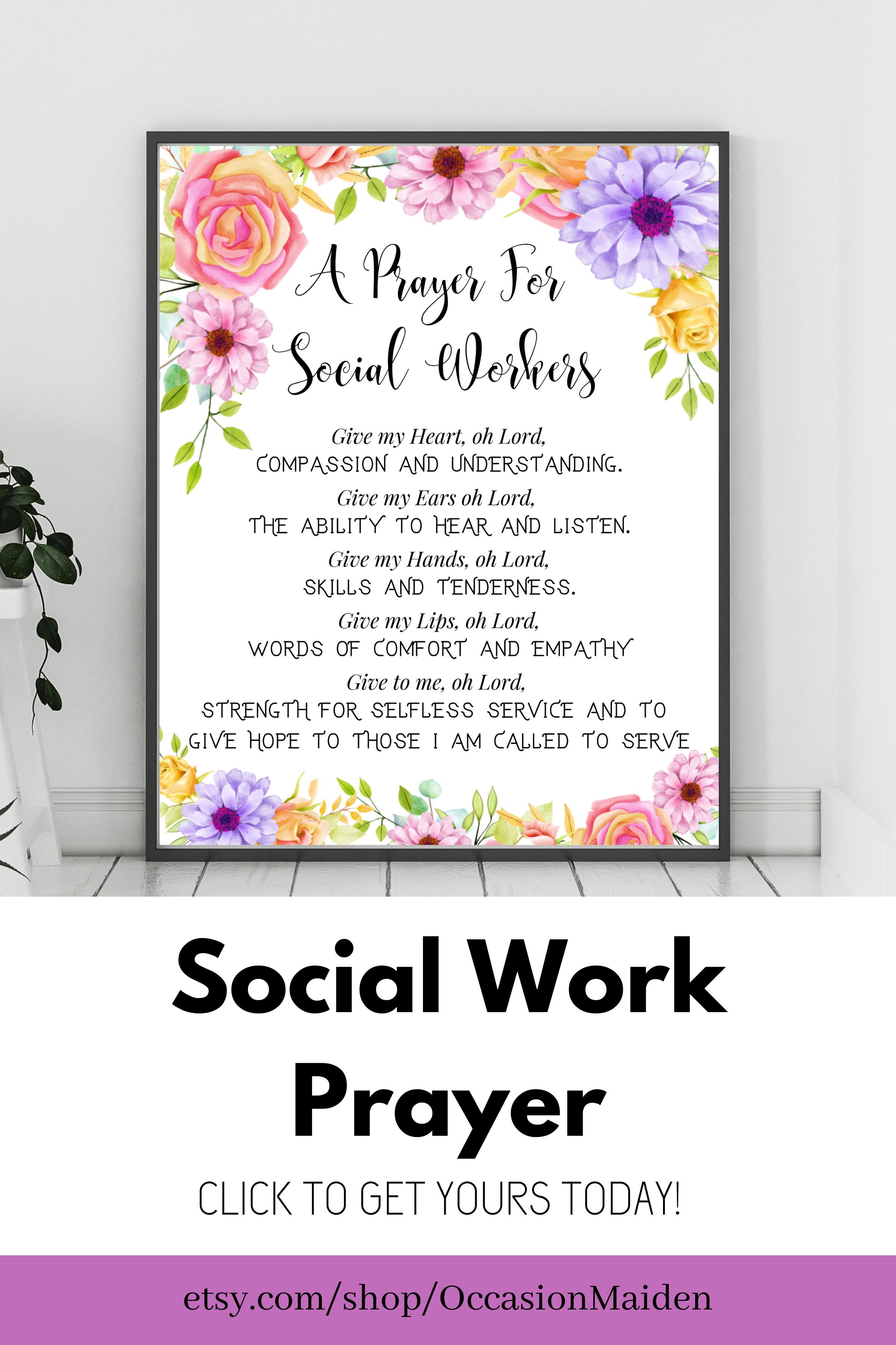 Masters Of Social Work Gift Social Work Poster Prayer Social Etsy Social Workers Prayer Social Worker Office Decor Social Work