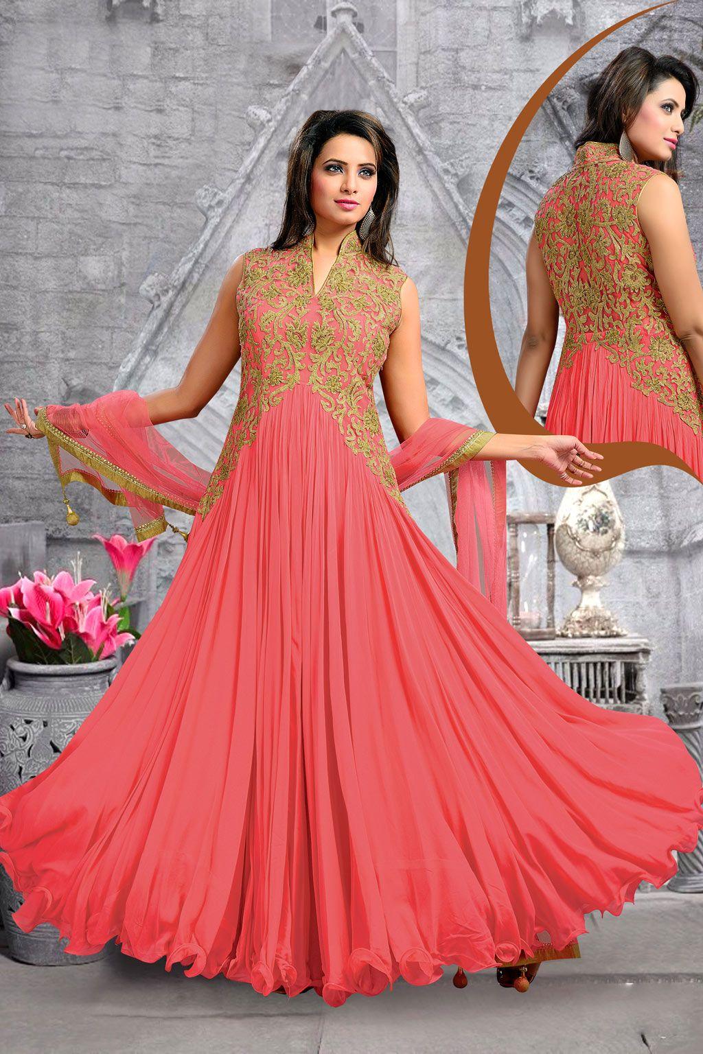 Peach Georgette Designer Anarkali Suit 63147