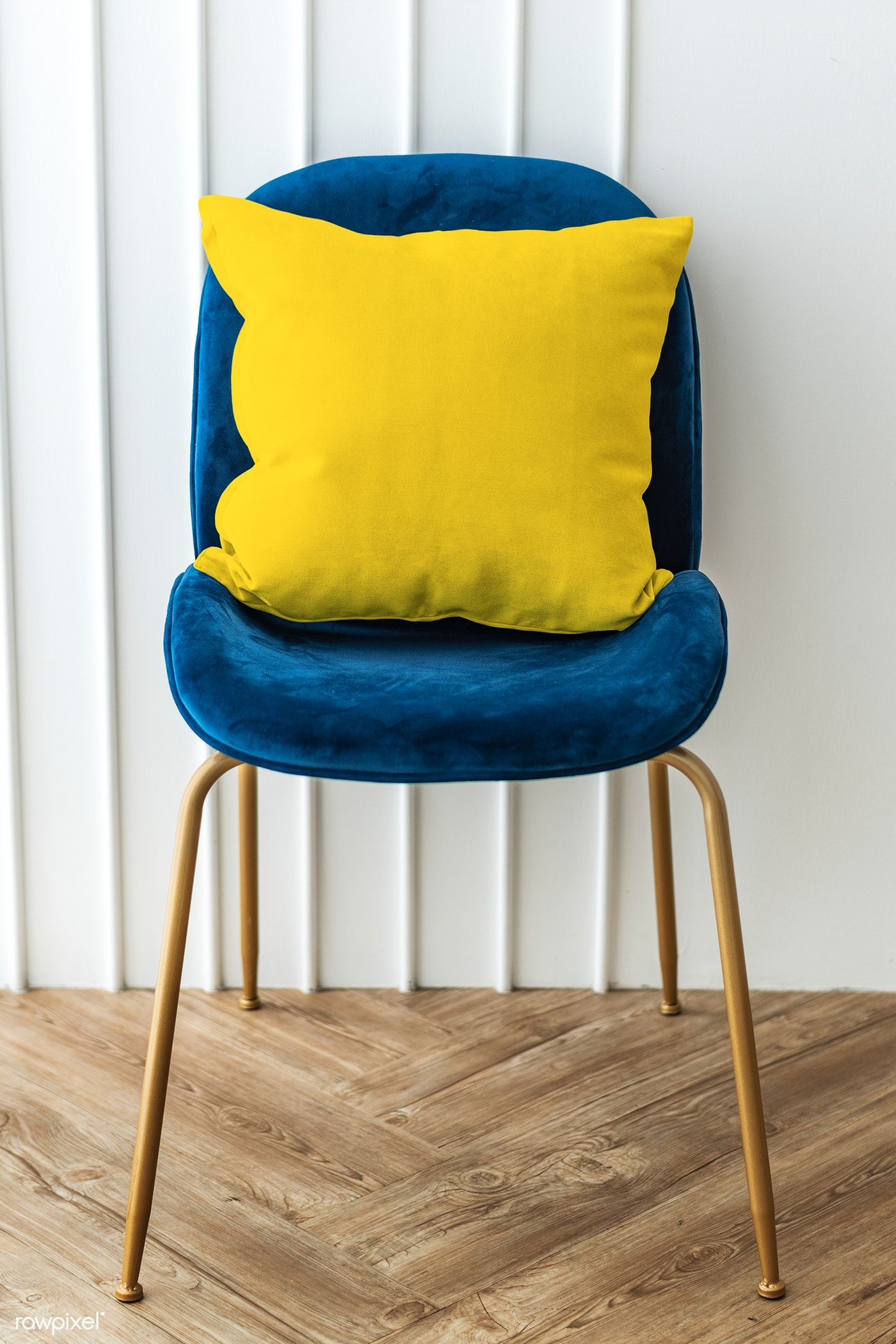 Yellow Cushion On A Blue Velvet Chair Premium Image By Rawpixel Com Teddy Rawpixel Photography Photos Blue Velvet Chairs Velvet Chair Yellow Cushions