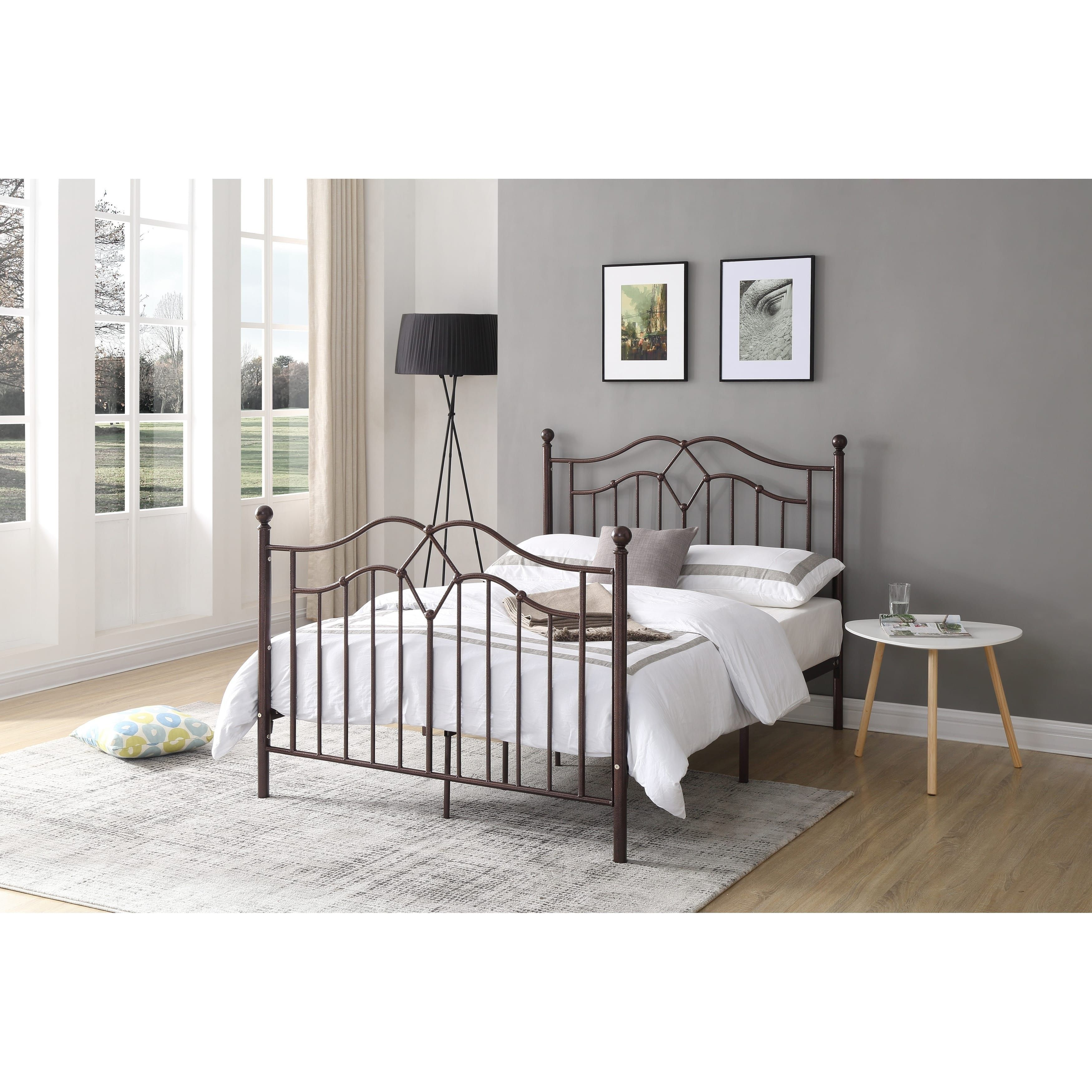 hodedah french spindle bronze metal poster bed twin brown