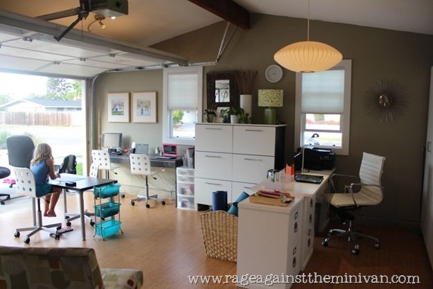 garage turned office space and playroom for the home pinterest playrooms office spaces. Black Bedroom Furniture Sets. Home Design Ideas