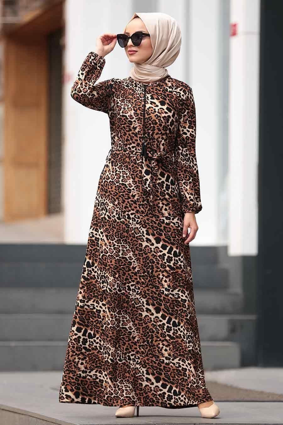 Nayla Collection Leopar Desenli Tesettur Elbise 22920lp Tesetturisland Com The Dress Maksi Elbiseler Musluman Modasi