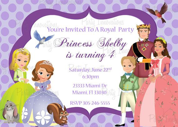 Printable Sofia The First Birthday Party Invitation Party