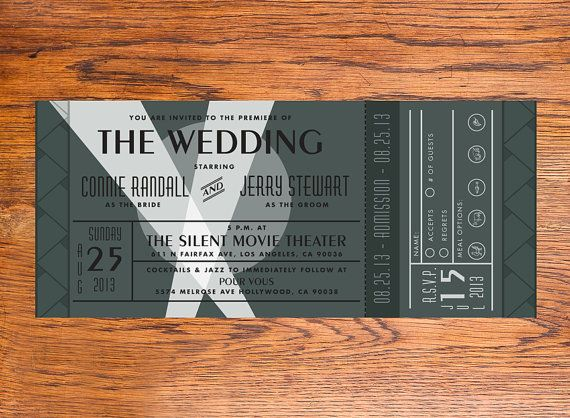 Diy Vintage Movie Premiere Ticket Wedding By Noblesthart On Etsy