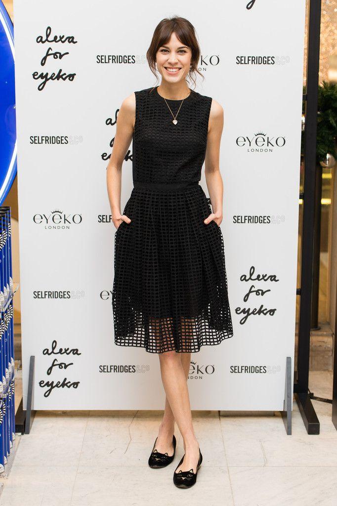 Alexa Chung wearing Charlotte Olympia Kitty Embroidered Velvet Flats Carven Resort 2014 Dress
