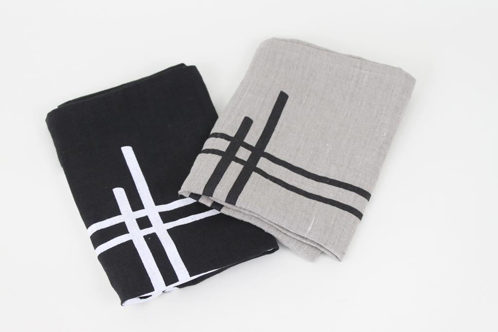 Hand Printed Grid Tea Towel