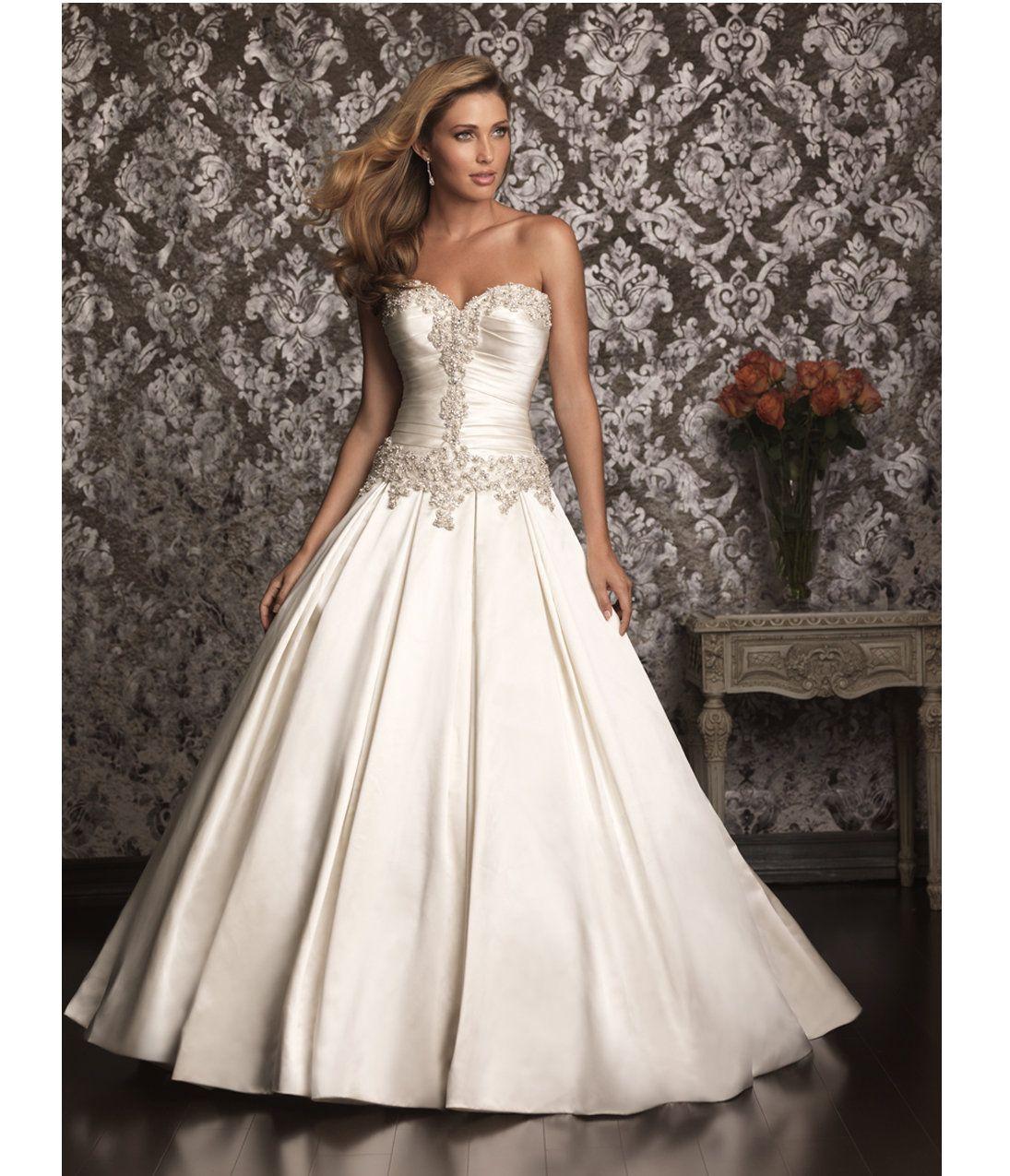 Vintage Wedding Dresses Glasgow: Ivory & Silver Satin Swarvoski