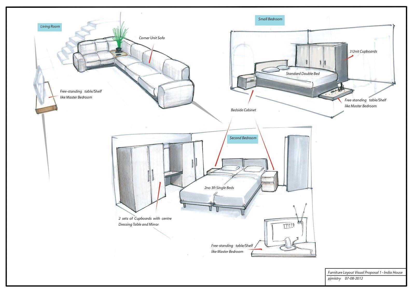 Interior Designing Sketches Home Furniture Sketch Design Layout