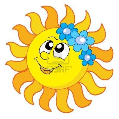 Smiling Sun With Flowers
