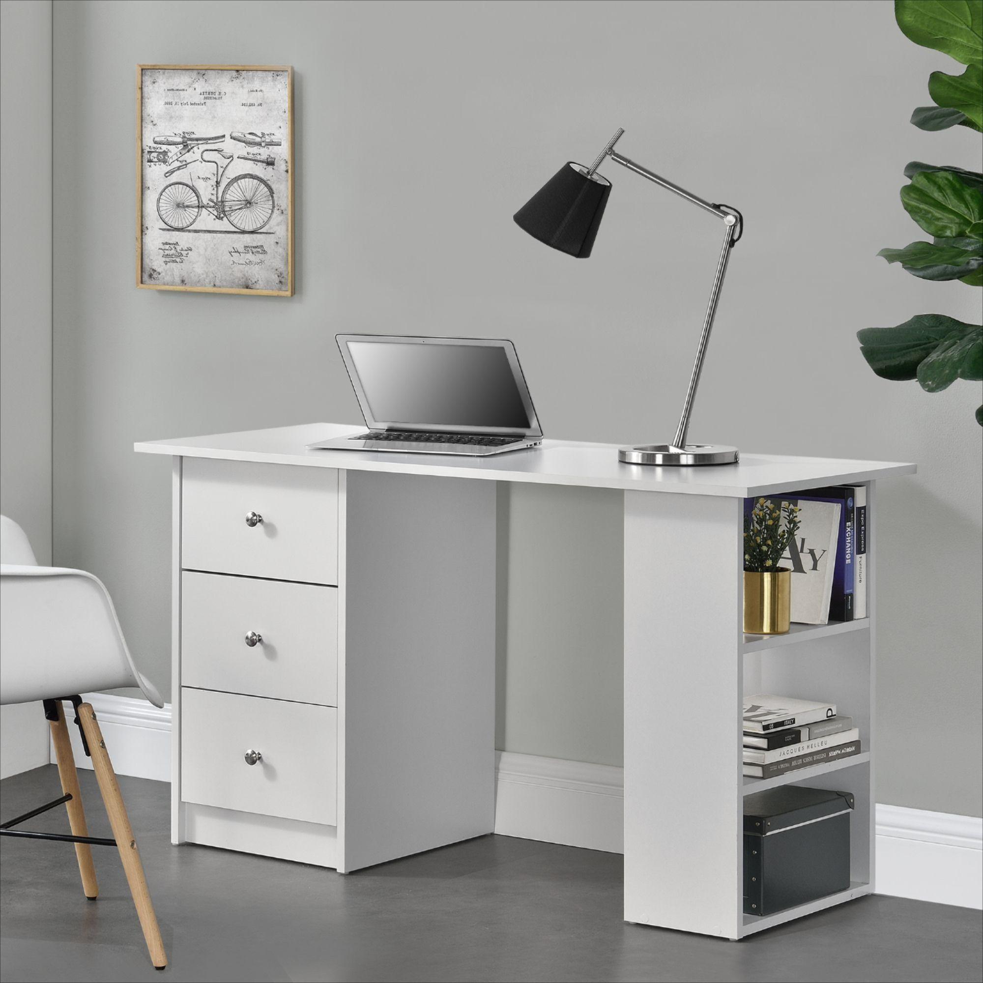 Bureau Blanc Avec 3 Tiroirs Cielterre Commerce Table Bureau Poste De Travail Informatique Bureau Blanc