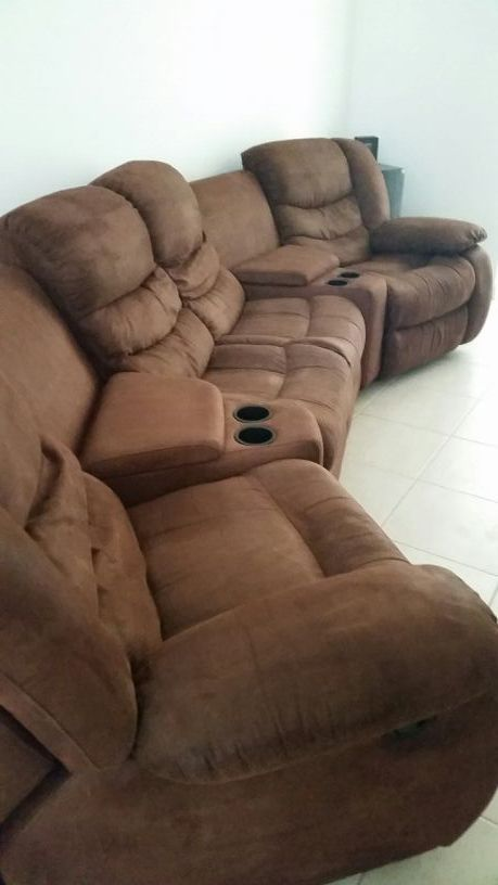 New (never used) - Mocha, Chocolate Brown Sectional Entertainment ...