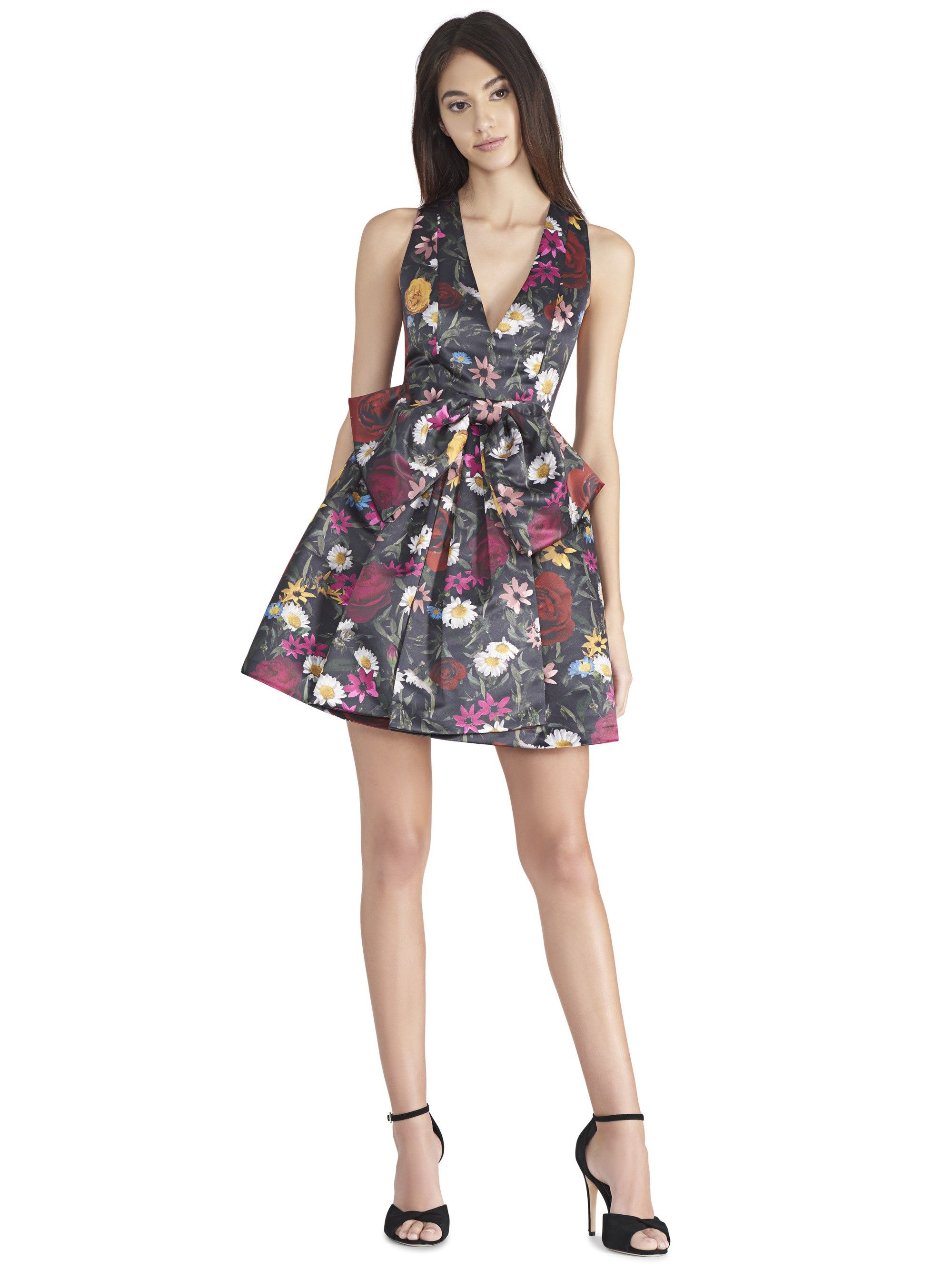4566b8458 ALICE AND OLIVIA DARALEE BOW FRONT PARTY DRESS - VIVID FLORAL ...