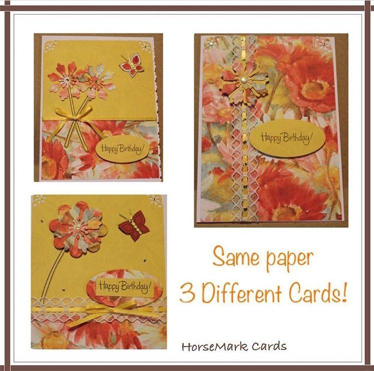 Same Printed Paper Three Different Birthday Cards Birthday