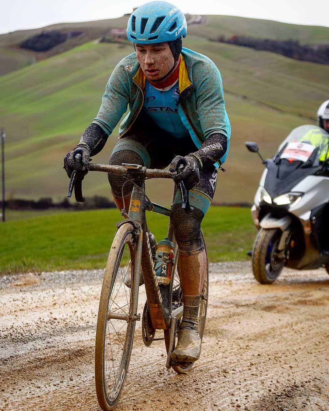 Alexey Lutsenko On A Gravel Sector During The Strade Bianche 2018