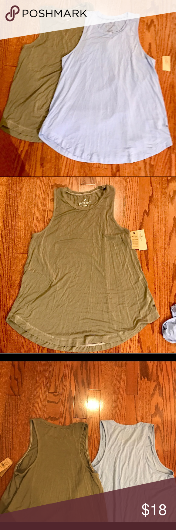 """2 AEO Soft & Sexy Tank Tunics green & blue Sz XS Both new with tags - size extra small - a line shape-  25"""" long American Eagle Outfitters Tops Tank Tops"""
