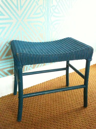 ORIGINAL 50u0027s WICKER LLOYD LOOM LUSTY DRESSING TABLE STOOL,VINTAGE RETRO  FAB!