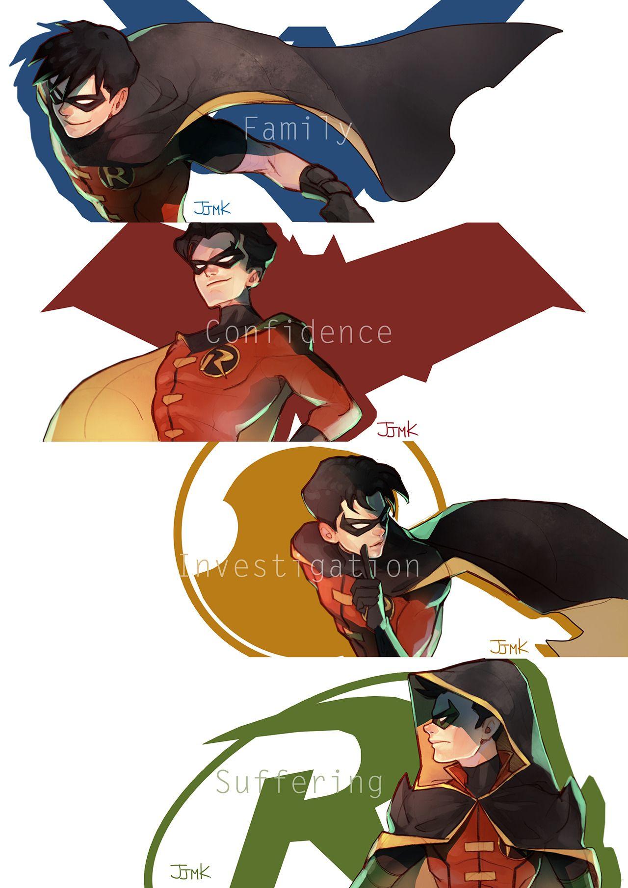 نتیجه تصویری برای robins fan art Pinterest