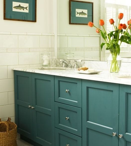 Five Ways To Update A Bathroom Centsational Style Painting Bathroom Cabinets Colorful Bathroom Vanity Painted Bathroom